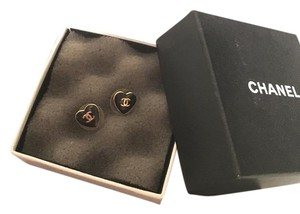 Chanel Authentic CHANEL Earrings Heart Shape Gold Pierced