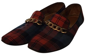 Bettye Muller red, navy and black plaid with gold hardware Flats