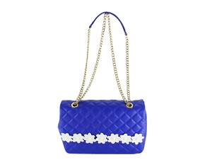 Boutique Moschino Floral White Leather Chain Link Shoulder Bag