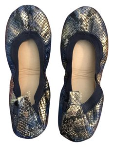 Yosi Samra Metallic Blue And Gold Leather Snake skin patent Flats