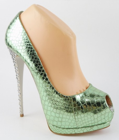 Giuseppe Zanotti Platform Evening Green Pumps Image 2