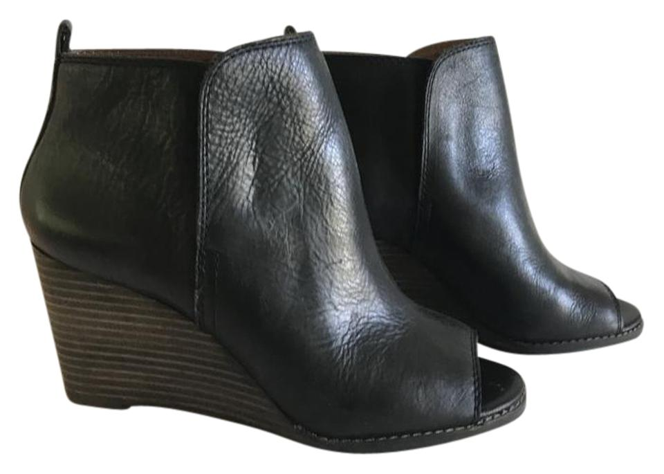 Lucky Brand Boots/Booties Black Leather/Brown Heel Wedge Boots/Booties Brand 164c7a