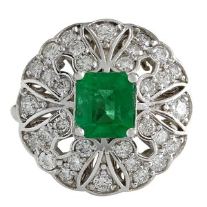 Fashion Strada 2.45CTW Natural Emerald Diamond Ring 14K Solid White Gold