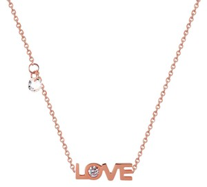 Master Of Bling Sideways Love Chain Charm Solitaire CZ Rose Gold On Stainless Steel