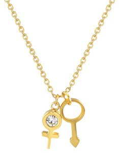 Master Of Bling Dainty Choker Pride Charms Solitaire CZ 18k Gold Over Stainless Steel