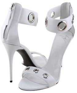 Giuseppe Zanotti Designer Grommet Leather White Sandals