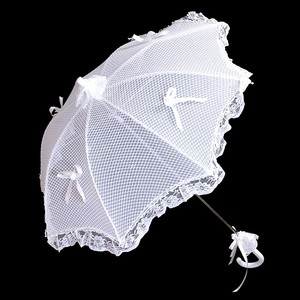Bridal Wedding Bow Lace Mesh Umbrella