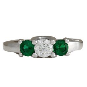 Fashion Strada 1.00CTW Natural Colombian Emerald And Diamond Ring 14K Solid White Gol