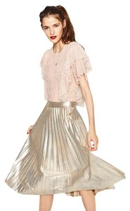 Zara Lace Crop Short Sleeve Frilled Lace Top Pink