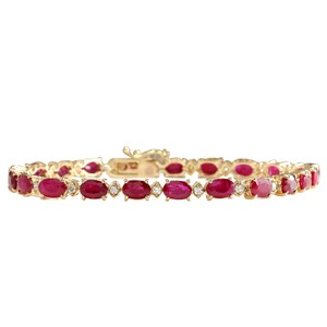Fashion Strada 13.95CTW Natural Red Ruby And Diamond Bracelet In 14K Yellow Gold