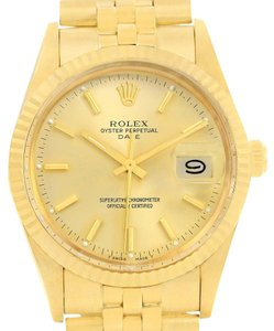 Rolex Rolex Date Mens 14k Yellow Gold Vintage Mens Watch 15037 Box Papers