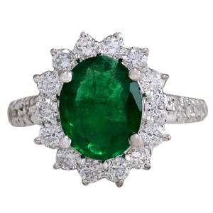 Fashion Strada 3.08CTW Natural Emerald And Diamond Ring 14K Solid White Gold
