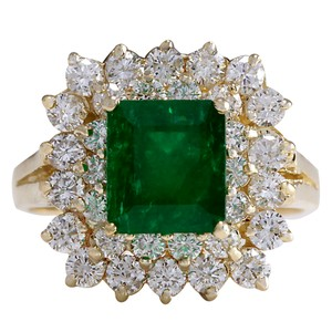 Fashion Strada 2.87CTW Natural Emerald And Diamond Ring 14K Solid Yellow Gold