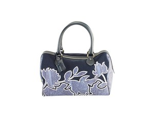 Etro Paisley Leather Suede Patterned Tote in Blue