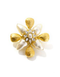 St. John St. John Goldtone and Pearl Brooch
