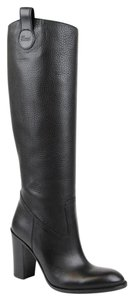 Gucci Leather Tall Knee Script Black Leather/1000 Boots