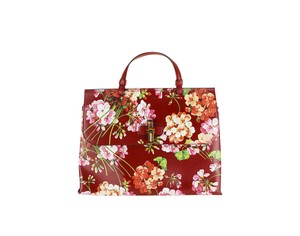 Gucci Red Floral Patterned Bamboo Leather Tote in Multi-Color