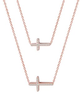 Master Of Bling Choker Dainty Chain Charm Rose Gold On Stainless Steel 2 Cross Sideway