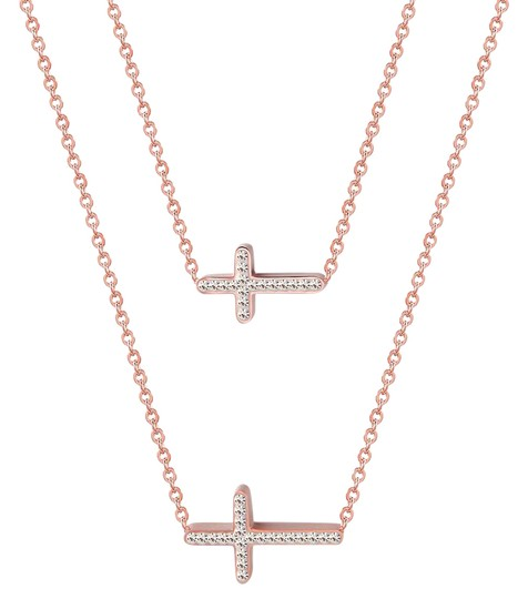 Preload https://img-static.tradesy.com/item/21212354/master-of-bling-rose-gold-choker-dainty-chain-charm-on-stainless-steel-2-cross-sideway-necklace-0-1-540-540.jpg