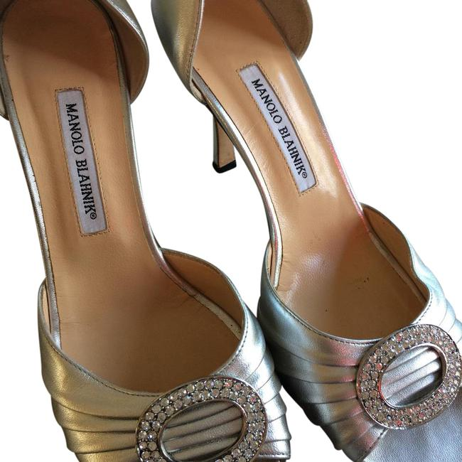 Item - Silver Embellished Metallic Pumps Formal Shoes Size US 10.5 Narrow (Aa, N)