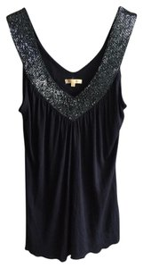 Matty M Black Beaded Tank Top Navy