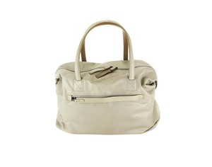 Lanvin Unisex Leather Metallic Hardware Beige Travel Bag