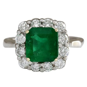Fashion Strada 3.15CTW Natural Colombian Emerald And Diamond Ring In 14K White Gold