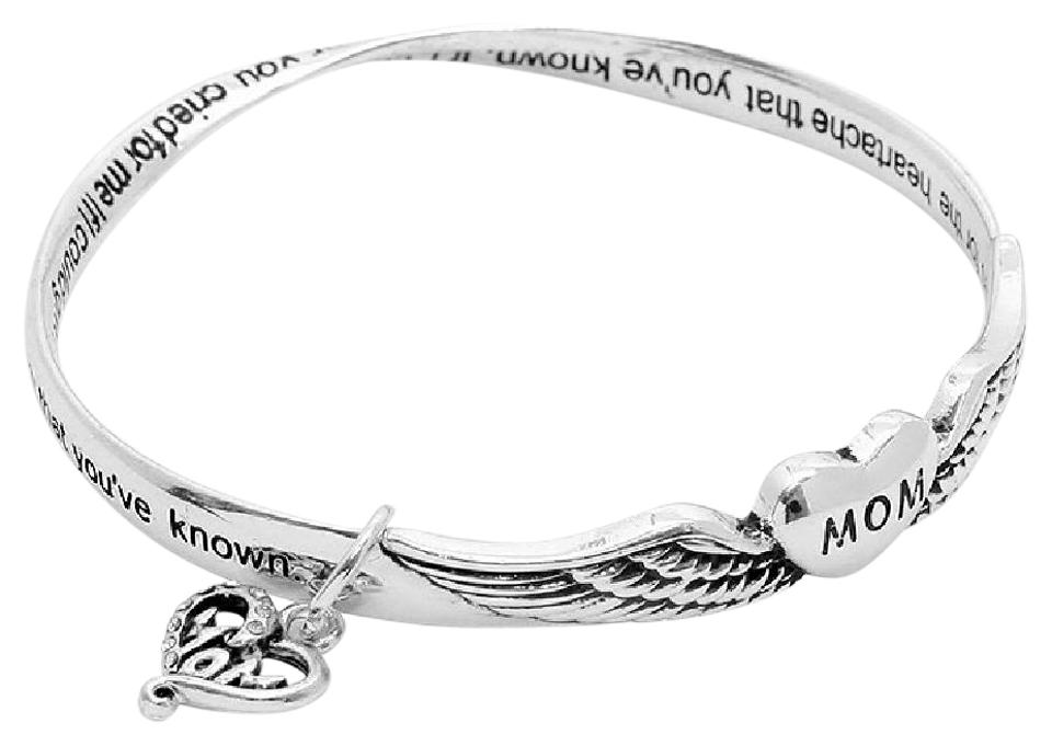 Silver Heart Angel Wings Charm Bracelet