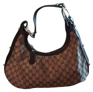 Gucci Monogram Vintage Canvas Leather Hobo Bag