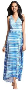 Blue Maxi Dress by Ann Taylor Maxi Striped High Low V-neck