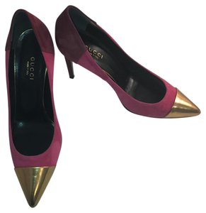 Gucci Fuchsia, Plum, and Gold Pumps