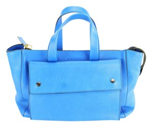 Marni Leather Women Gold Hardware Tote in Blue