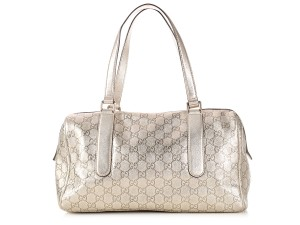 Gucci Gc.l0130.02 Metallic Embossed Gg Leather Satchel
