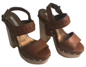 Twelfth St. by Cynthia Vincent Tan leather and natural wood Platforms