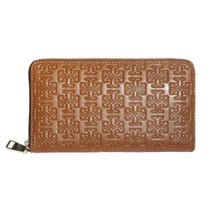 Tory Burch Tory Burch Embossed T Zip Continental Wallet Leather BARK