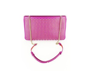 Christian Louboutin Gold Hardware Studded Crossbody Leather Pink Clutch