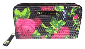 Betsey Johnson Sequined Rose Zip Around Wallet
