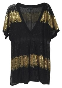 INC International Concepts Sequin Black Gold Tunic Top Black/Gold