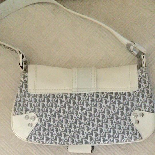 Dior Cream Color Leather And Dior Print Clutch