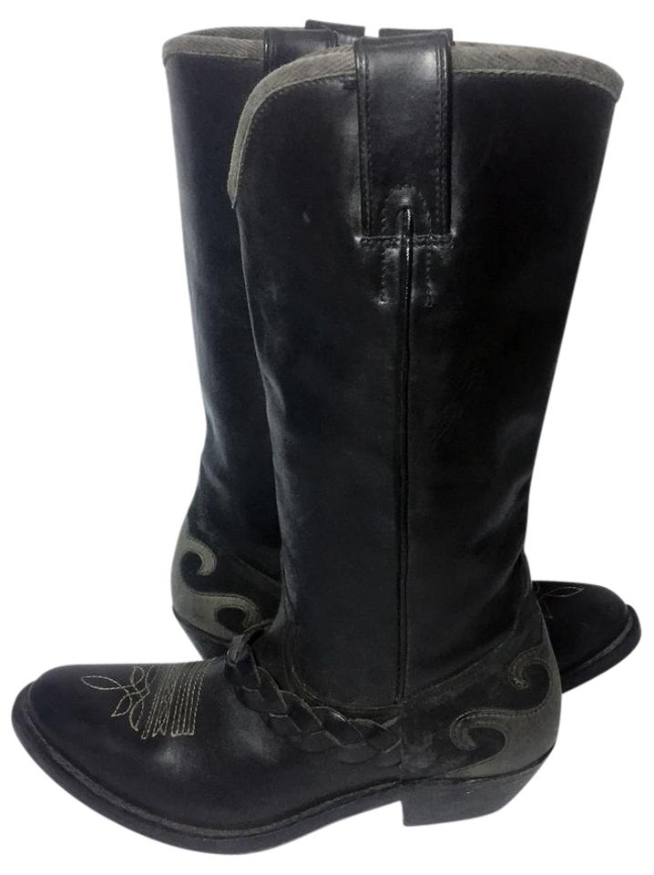32c76df9dcb32 Black Leather Cowgirl Women apos s Boots Booties. Golden Goose Deluxe Brand.  Black Leather Cowgirl Women s Boots Booties
