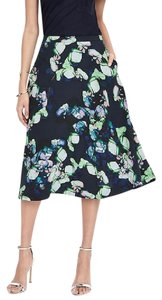 Banana Republic Floral Preppy Skirt Preppy Navy