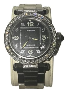 CARTIER Black Faced Pasha Watch With Diamond Bezel CARTIER Diamond Pasha Stainless Steel Watch