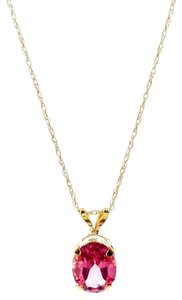 Savvy Cie Savvy Cie 14K Yellow Gold Hot Pink Mystic Topaz Pendant Necklace