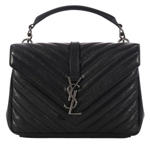 Saint Laurent Ys.l0210.10 Matelasse Quilted Flap Ysl Satchel in Black