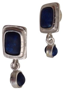 Ann Taylor Sapphire Blue Stones on Matte Silver Dangle Earrings