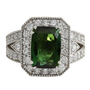 Fashion Strada 4.72CTW Natural Green Tourmaline And Diamond Ring 14K Solid White Gold