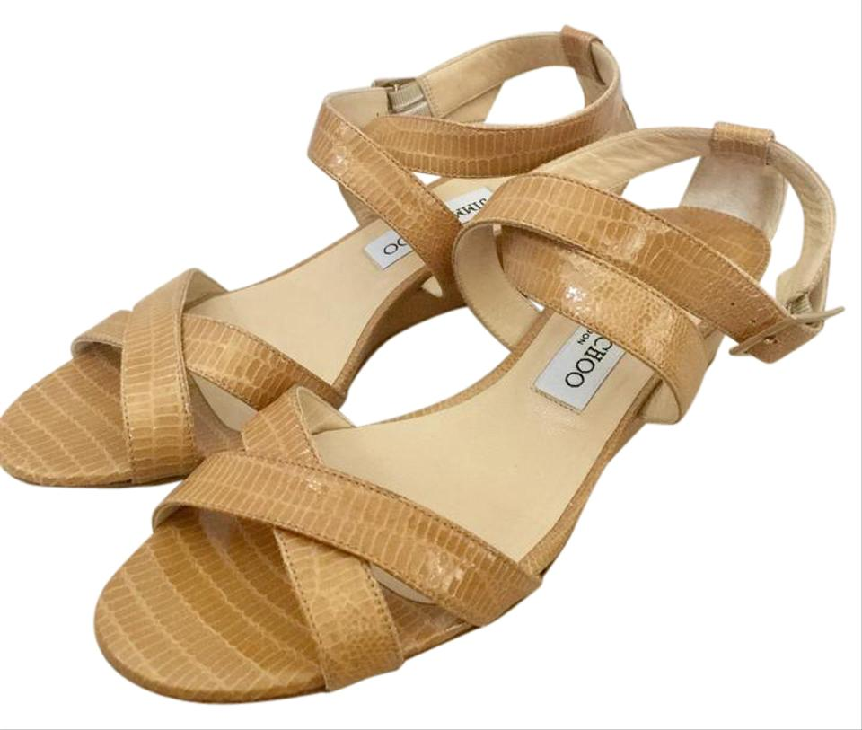 Jimmy Choo Wedges Tan Chiara Reptile Embossed Wedges Choo cb355f