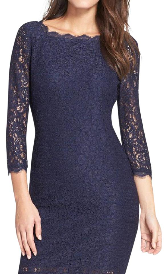 8a669a99 Adrianna Papell Navy/Gunmetal Lace Overlay Sheath 041864780 Cocktail Dress