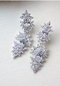 Bridal Cubic Zirconia Wedding Earrings - Elaine