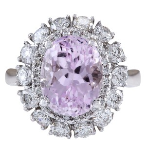 Fashion Strada 6.20CTW Natural Kunzite And Diamond Ring 14K Solid White Gold